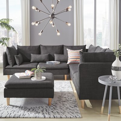 Colinda Reversible Sectional Upholstery: Dark Gray