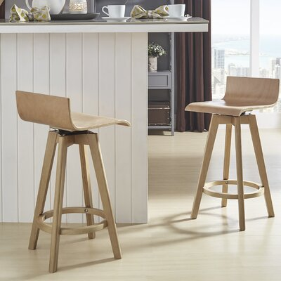 Dery 24 Swivel Bar Stool Color: Natural