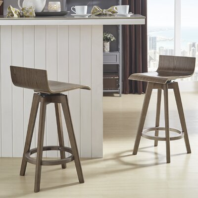 Dery 24 Swivel Bar Stool Color: Walnut