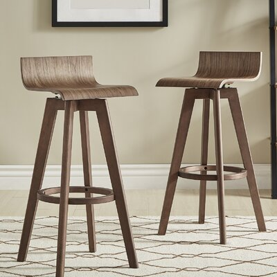 Dery 29 Swivel Bar Stool Color: Walnut