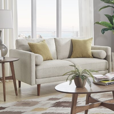 Desalvo Oatmeal Tweed Fabric Tapered Leg Standard Loveseat