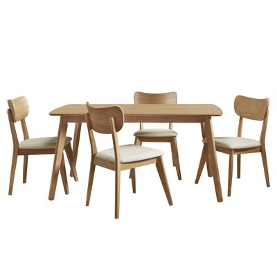 Hardwick Mid-Century 5 Piece Dining Set Color: Natural Oak