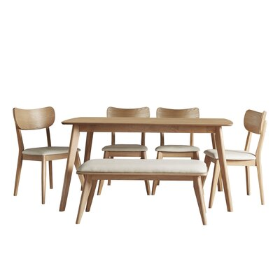 Hardwick Mid-Century 6 Piece Dining Set Color: Natural Oak