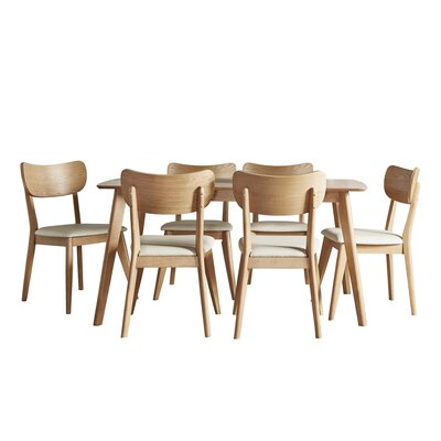 Hardwick Mid-Century 7 Piece Dining Set Color: Natural Oak
