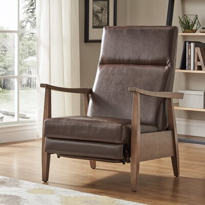 Ivory Mid-Century Manual Recline No Motion Recliner Upholstery: Brown