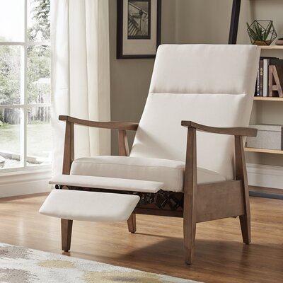 Ivory Mid-Century Manual Recline No Motion Recliner Upholstery: Beige