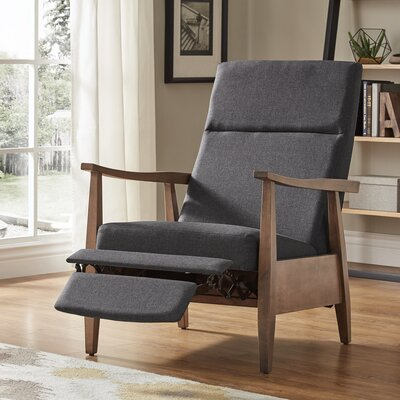 Ivory Mid-Century Manual Recline No Motion Recliner Upholstery: Dark Gray