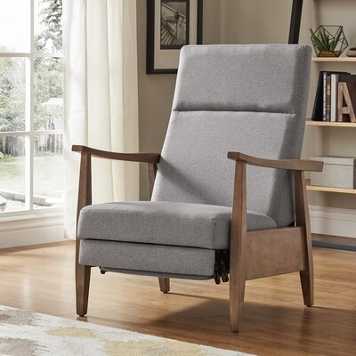 Ivory Mid-Century Manual Recline No Motion Recliner Upholstery: Gray