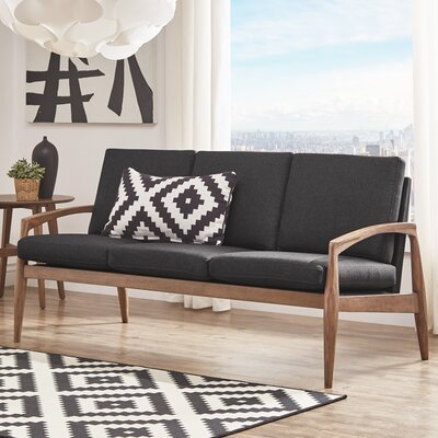 Alaina Curved Arm Sofa Upholstery: Dark Gray, Frame Finish: Natural Wood