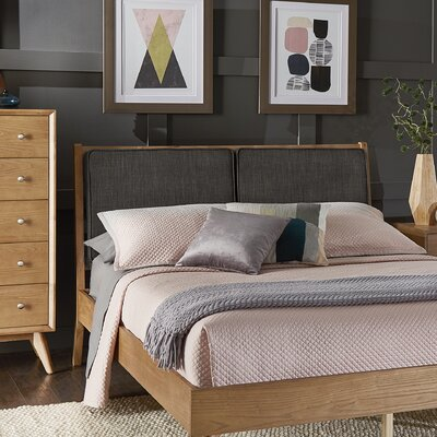 Beckham Queen Upholstered Platform Bed Color: Dark Gray, Color (Frame): Light Oak