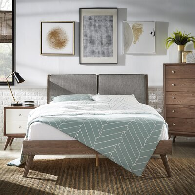Beckham Queen Upholstered Platform Bed Color: Gray, Color (Frame): Dark Walnut