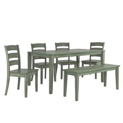 Alverson 6 Piece Dining Set Color: Dark Sea Green