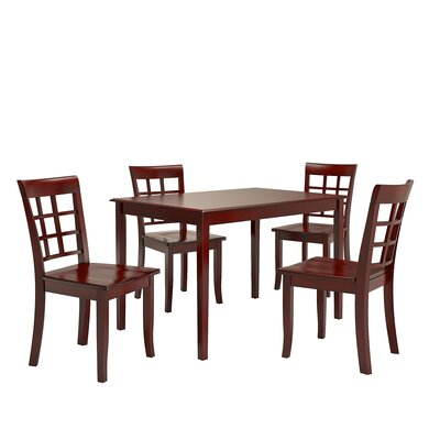 Alverson 5 Piece Dining Set Color: Berry Red