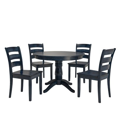 Alverson 5 Piece Dining Set Color: Antique Dark Denim