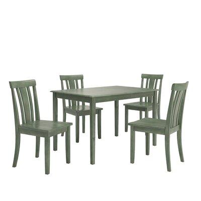 Alverson 5 Piece Dining Set Color: Dark Sea Green