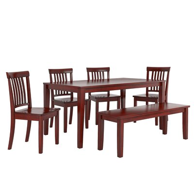 Alverson 6 Piece Dining Set Color: Berry Red