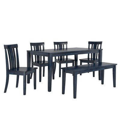 Alverson 6 Piece Dining Set Color: Antique Dark Denim