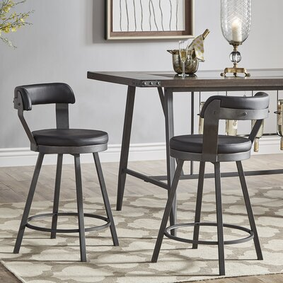 Berrin 25.05 Swivel Bar Stool Upholstery: Black