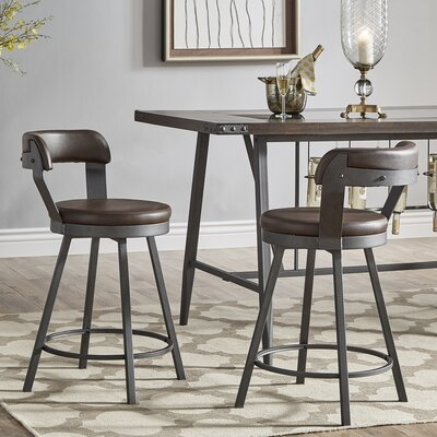 Berrin 25.05 Swivel Bar Stool Upholstery: Brown
