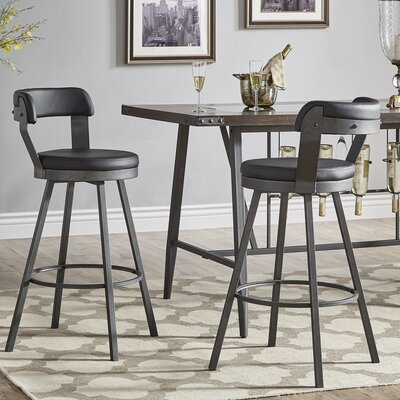 Berrin 30.3 Swivel Bar Stool Upholstery: Black