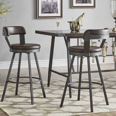 Berrin 30.3 Swivel Bar Stool Upholstery: Brown
