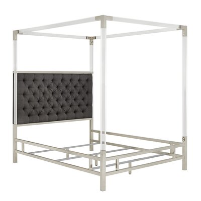 Koepke Upholstered Canopy Bed Color: Dark Gray, Size: Queen
