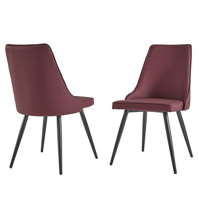 Yandell Dining Chair Upholstery Color: Burgundy