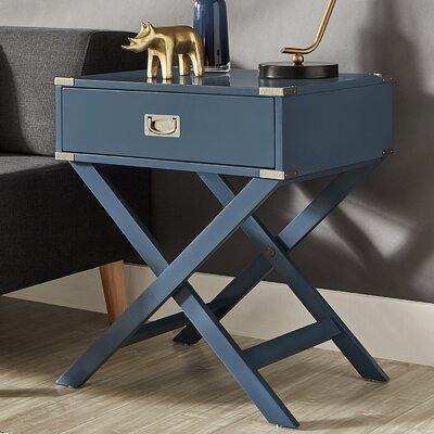 Marotta 1 Drawer End Table Color: Steel Blue