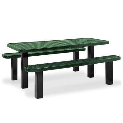 Picnic Table Finish: Black, Table Size: 64.25 W x 96.25 L