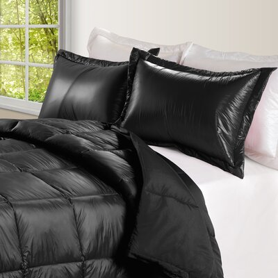 Ultra Light Nylon and Microfiber Down Alternative Indoor/Outdoor Comforter Size: Twin, Color: Black
