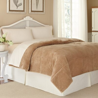 Vellux Plush Lux Blanket Color: Sand, Size: Twin
