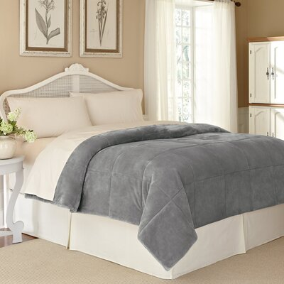 Vellux Plush Lux Blanket Size: Twin, Color: Gray