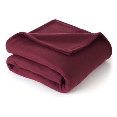 Vellux Martex Super Soft Polyester Fleece Throw Blanket - Size: Twin, Color: Burgundy