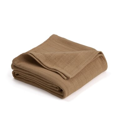 Vellux Woven Cotton Blanket Size: Twin, Color: Tan