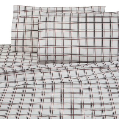 Flannel Sheet Set Color: Red/Gray, Size: Twin