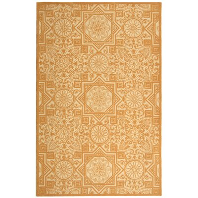 Petit Point Camel Contemporary Rug Rug Size: Round 6