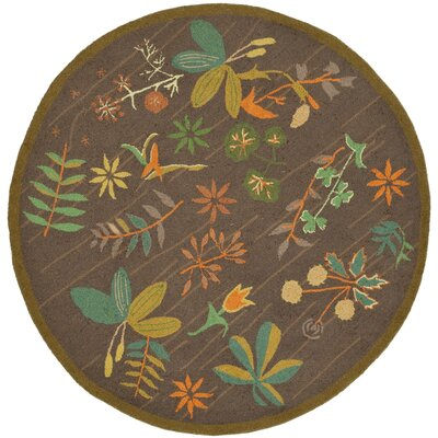 Grove Twig Green Floral Area Rug Rug Size: Round 4