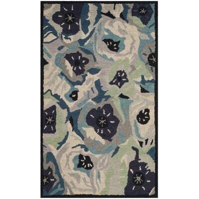 Hand-Tufted Blue Area Rug Rug Size: 3 x 5