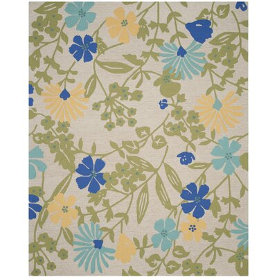 Hand-Hooked Bay Leaf Area Rug Rug Size: Rectangle 4 x 6