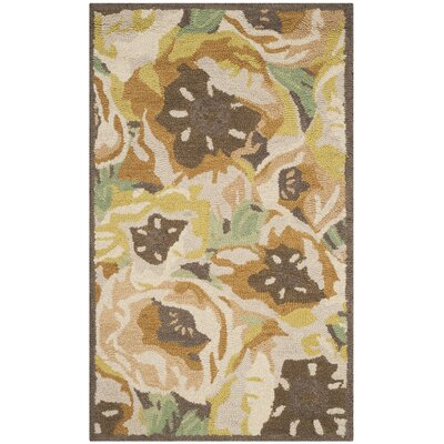 Hand-Tufted Gold Area Rug Rug Size: Rectangle 4 x 6