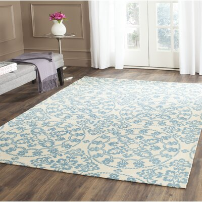Hand-Loomed Natural/Light Blue Area Rug