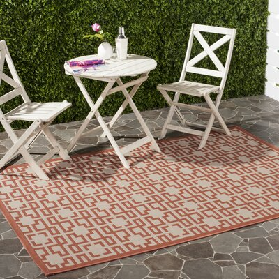 Beige/Terracotta Area Rug Rug Size: Rectangle 67 x 96