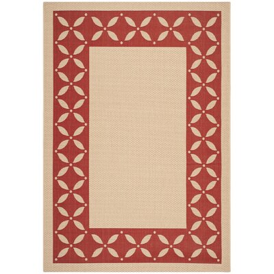 Martha Stewart Mallorca Border Creme/Red Area Rug Rug Size: Rectangle 67 x 96