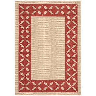 Martha Stewart Mallorca Border Creme/Red Area Rug Rug Size: 67 x 96