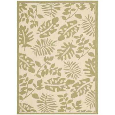 Martha Stewart Paradise Creme/Green Indoor/Outdoor Area Rug Rug Size: 53 x 77