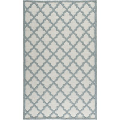 Martha Stewart Puzzle Floral Ivory/Blue  Rug Rug Size: Rectangle 5 x 8