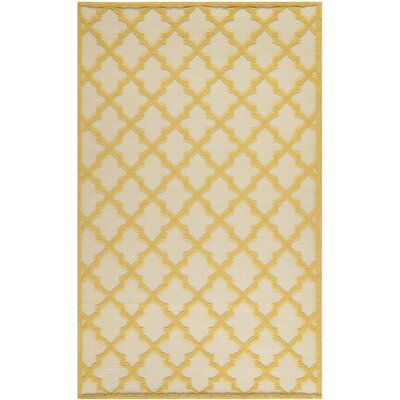 Martha Stewart Puzzle Floral Ivory/Gold Indoor Area Rug Rug Size: Rectangle 5 x 8