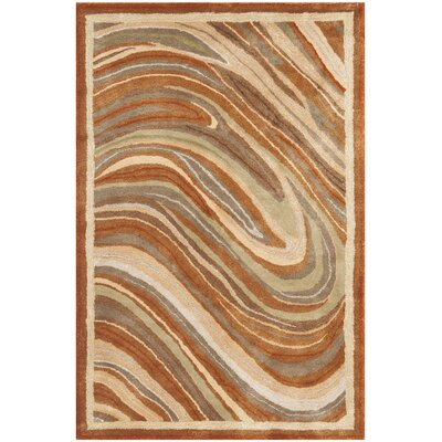 Martha Stewart Marble Swirl Oct Leaf Red Geometric Area Rug Rug Size: Rectangle 39 x 59