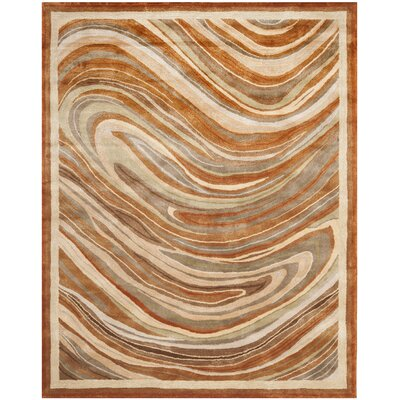 Martha Stewart Marble Swirl Oct Leaf Red Geometric Area Rug Rug Size: 79 x 99