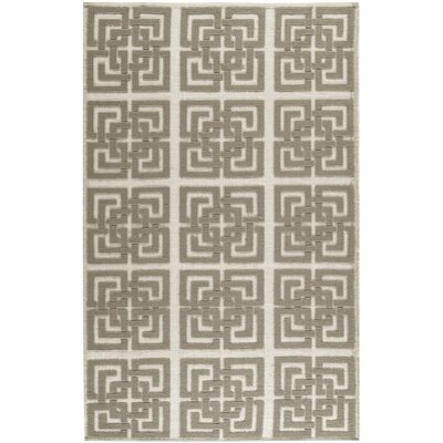 Martha Stewart Puzzle Floral Ivory/Brown Area Rug Rug Size: Rectangle 5 x 8